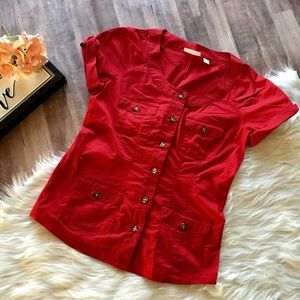 Ny & Co • Red Safari Style Button Front Blouse